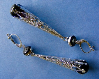 Silver Filigree and Black Glass Long Drop Earrings