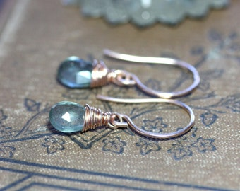 Moss Aquamarine Earrings Rose Gold Filled Green Earrings Faceted Gemstone Briolette Luxe Rustic Jewelry