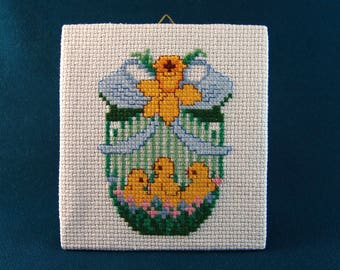 Easter Chicks Canvas Handmade Embroidery Wall Hanging Picture