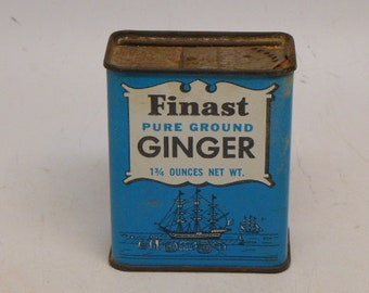 Vintage Spice Tin - Finast Spice Tin - Ginger Spice Tin - Finast Ginger Spice Tin