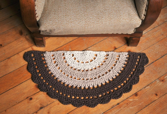 Crochet Half Circle Rug Small Boho Rug Crochet Half Moon