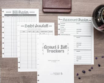 BILL TRACKER Happy Planner Budget Inserts, Happy Planner Finance, Financial Planning Budget Page, Debt Snowball, Create 365 Planner Refills