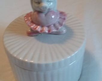 Vintage F&F/Fitz and Floyd Ballerina Pig/Pink Tutu/Jewelry Box/Keepsake/Girls Birthday/Sweet 16/Small Porcelain Box/Round/Eco Friendly/