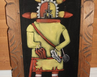 Vintage Katchina Velvet Painting