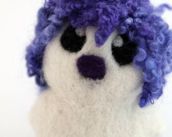RESERVED FOR ELLE Violet and Purple Hairy Bird Needle Felted White One of A Kind Bird Violet