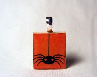 Halloween spider scrabble pendant