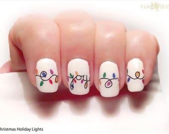Christmas Nail Decal Holiday Lights  Joy Noel  nail art  by NAILTHINS