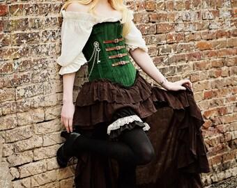 Green and Brown Steampunk Corset, Airship, Pirate, Western, Wild West, West World, Renaissance, Forest Girl, Victorian, NeoVictorian