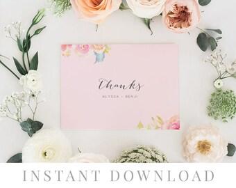 Printable Thank You Card INSTANT DOWNLOAD, Wedding Favor Card, DIY Printable Decorations, Templett, Editable pdf, Blush Pink, Demure