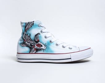 "Custom Converse All-Stars High Top ""Koi Fish"""