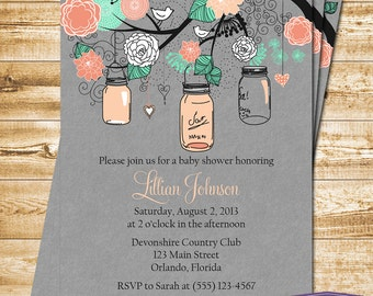Baby Shower Invitation - Mason Jar Baby Shower Invite - Gray Coral Mint Mason Jar Invitation - Girl Baby Shower Invite -1310 PRINTABLE