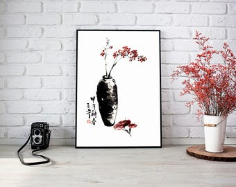Watercolor Painting,Flower Watercolor Painting,Flower Vase Painting,Wall Decor,Wall Art, Giclee Paper Print,Vertical Painting,Free Shipping