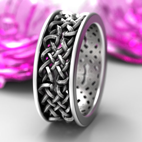 Celtic Wedding Ring With Open Cut-Through Knotwork Design in Sterling Silver, Made in Your Size 1141