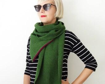 100% merino wool scarf, handmade knit scarf, green scarf, honeycomb pattern