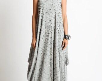 NEW Grey Asymmetric Loose Dress/Handmade Maxi Dress/Oversize Grey Kaftan/Grey Distressed Dress/Sleeveless Polo Dress/Plus Size Maxi Dress