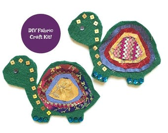 Turtle Craft – Felt Crafts – Craft Kits for Adults – Craft Kits for Kids – Fabric Crafts – DIY Gift Kit – Craft Patterns - Party Favors