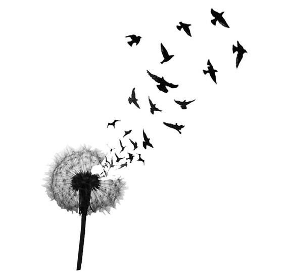 dandelion birds temporary tattoo premium quality die cut. Black Bedroom Furniture Sets. Home Design Ideas