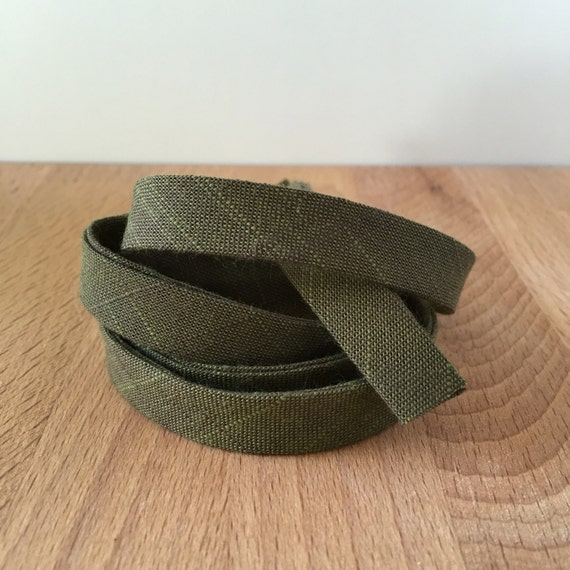 "Bias Tape- Kaufman Manchester Yarn-Dyed Moss Chambray 1/2"" Double-Fold Cotton binding- Army Green- 3 yard roll"