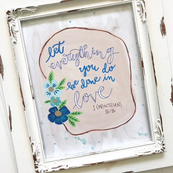 """Hand lettered and painted 8x10"""" Floral Print * Catholic Christian Home Decor * Scripture * Housewarming Wedding Gift"""