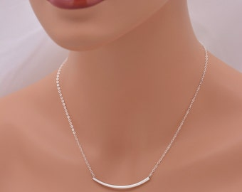 Large Silver Tube Necklace, Curved Tube Necklace, Curved Bar Layering Necklace, Real Sterling Silver - Gift for Her 0372