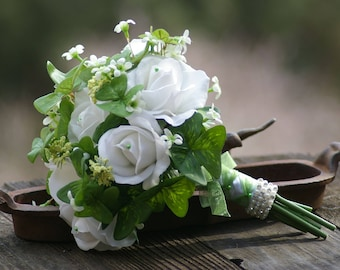 St. Patricks Irish Real Touch Bouquet White Rose and Green Clover Bridal Shamrock