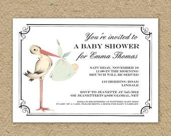 Vintage stork baby shower invitation, printable stork shower invitation