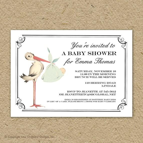 Vintage Stork Baby Shower Invitation Baby Girl Stork Shower