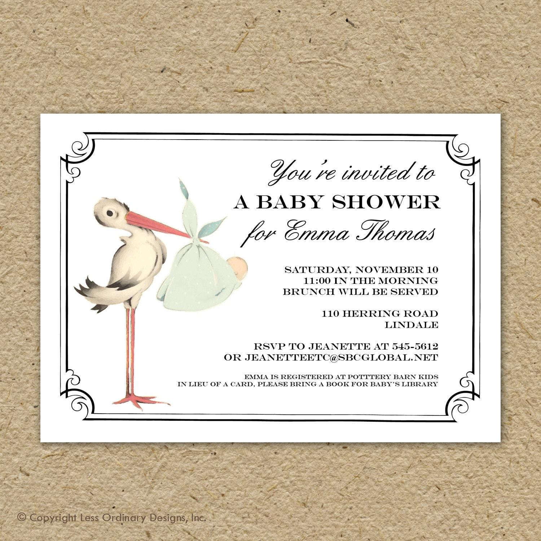 Vintage Baby Shower Invitations Girl: Vintage Stork Baby Shower Invitation Baby Girl Stork Shower