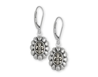 Fleur De Lis Earrings Jewelry Sterling Silver Handmade Flower Earrings FD5-LB