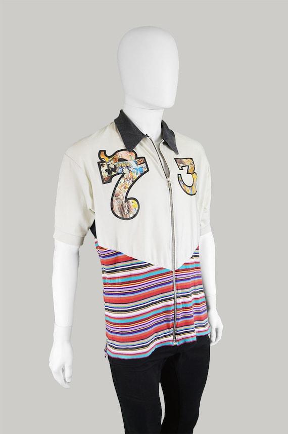 Shirt Hindu Shirt Clubwear Top Unusual Polo Top RICHMOND Cotton Kid 90s Jersey Print Cycle Vintage 1990s DESTROY Club JOHN Striped Designer TqwavvxB