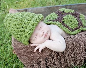 Crochet turtle set, newborn photo prop, turtle photo prop, turtle costume, Halloween costume, baby crochet turtle, baby turtle costume