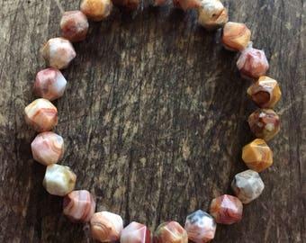 Crazy Lace Agate Star Cut Nuggets | Spiritual Junkies | Yoga + Meditation | Single Mala Bracelet