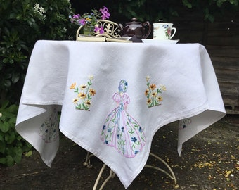 Vintage Crinoline lady tablecloth, embroidered white linen, 51 x 49, yellow flowers