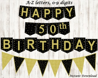 Happy Birthday Banner Personalized Adult , Bunting Banner Black and Gold,  20th, 30th, 40th, 50th, 60th, 70th, 80th, 90th, INSTANT DOWNLOAD
