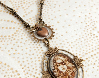 Lady Time - Old Cooper heart . Steampunk Necklace
