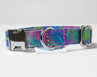 "Dog Collar and Leash Set ""Tropical Leaves"""