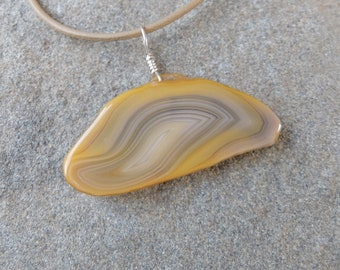 Unique yellow Agate pendant necklace - gem stone jewelry, organic ethical crystal jewelry - Australian Agate