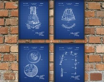 Spacecraft Patent Prints Set of 4 - NASA Spacecraft Poster - Mercury Space Capsule Patent Print - Space Travel - Space Exploration