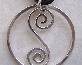 Spiral S Pendant on Leather Cord