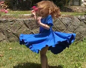 Handmade and Monogrammed Blue Twirl Dress - Girly Dress Knit Dress Fun Girls Dress Casual Dress Blue Ruffle Twirling Girly Spinning