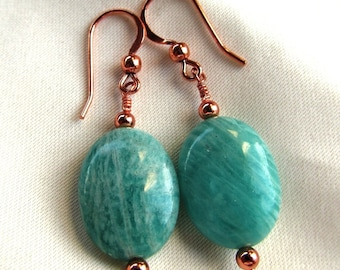 20x15mm Puffed Oval Amazonite with Copper Beads on Copper Fish Hook Earrings