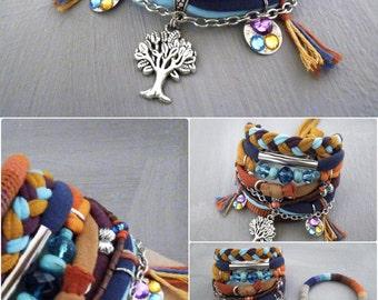 Three of Life Boho Bracelet Bold color scheme, Colorful Exotic Bohemian Gypsy Bracelet Orange and Turquoise Boho Jewelry
