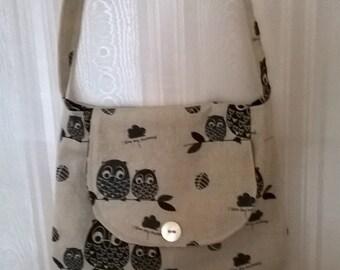 Owl Print Canvas Hobo Bag