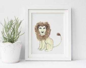 Lion Nursery Safari Print, The Nursery Collection, Safari Animals.