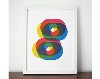 Drifting - An original screen print, modern abstract print, bright vibrant colours