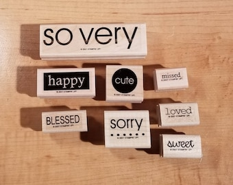 Stampin' Up Retired Set - 2007 So Very - Rubber Stamp Set of 8 - RS-026