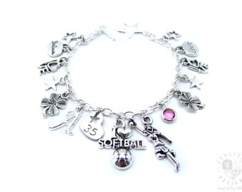 Softball Charm Bracelet, Softball Gifts, Softball Bracelet, Softball Jewelry, Softball Team Gift, Girls Softball Gift