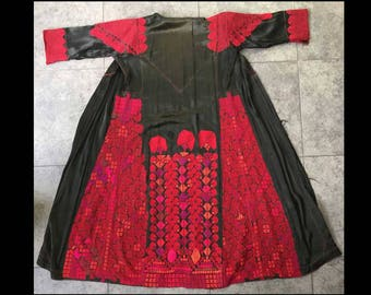 Antique Bedouin Coat Dress | Vintage Silk Embroidery | 1930s Middle East Textiles | Palestinian Womens Coat | Black Red | FREE SHIPPING USA