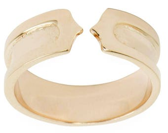 14 Karat Gold Plated Band Sterling Silver Men's Ring (Size 9)