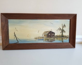 "Vintage Oil on Board Painting, Landscape Painting, Still Life, Painting, 23"" X 11"",Artist Signed, Dwyer, Framed Painting,Fish Camp, 1960s"